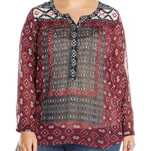 Lucky Brand mixed border printed peasant top 9576